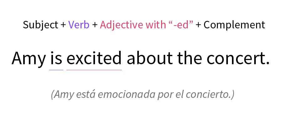 """Imagen ejemplo de oración con adjetivo terminado en """"-ed""""."""