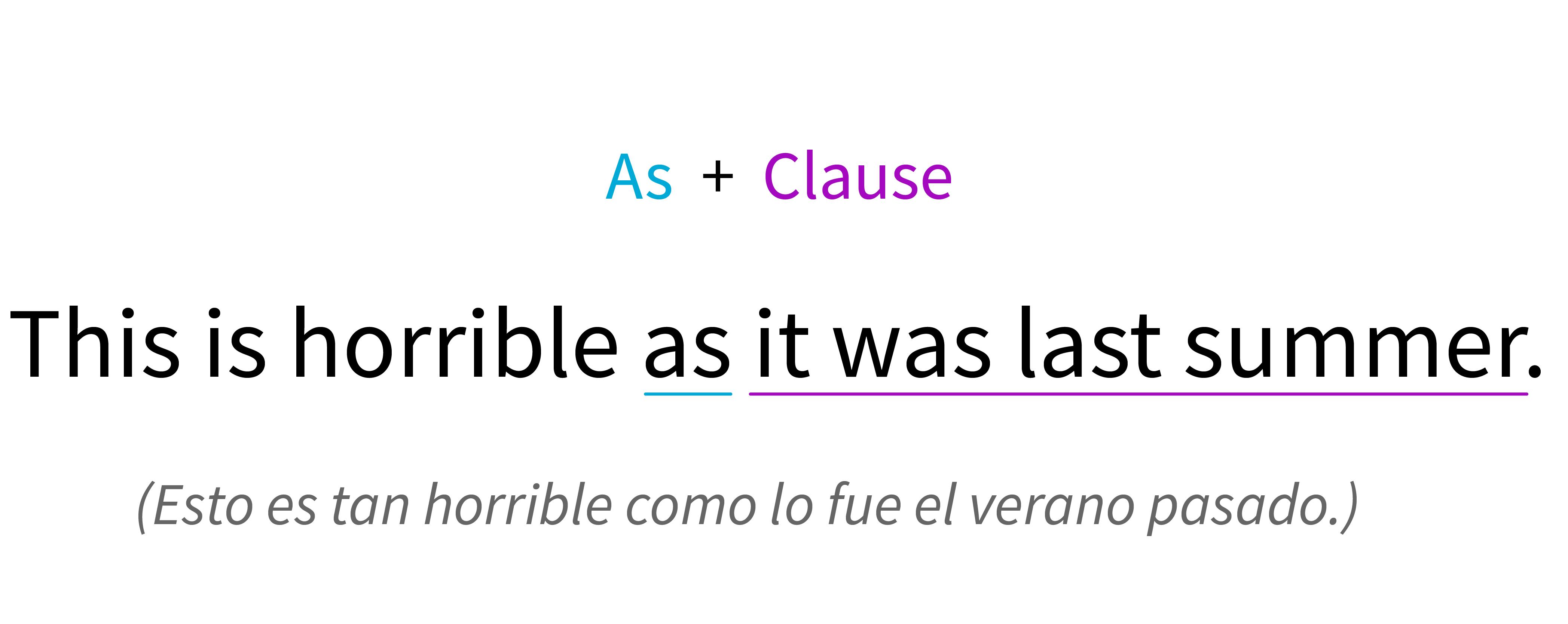 Fórmula para realizar una oración utilizando like y una frase o cláusula.