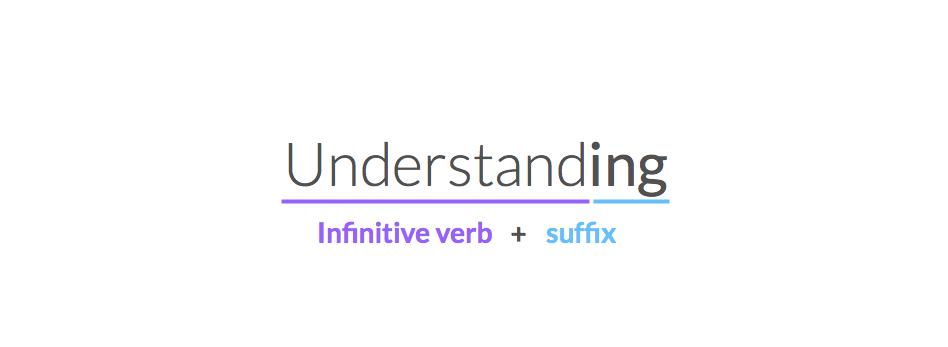 Exemplo da formação do verbo com sufixo ING