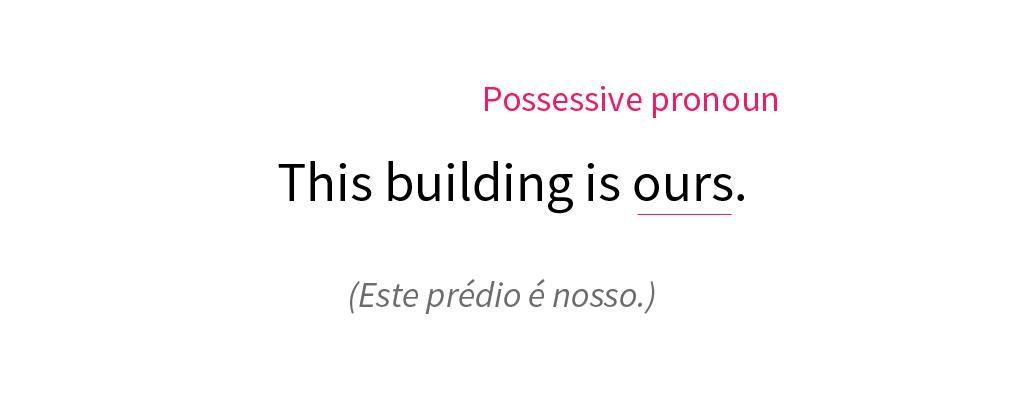 Exemplo de um pronome possessivo em inglês.