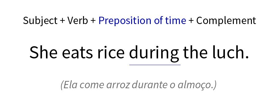Exemplo de preposição de tempo numa frase.
