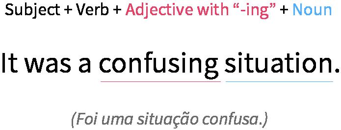 Exemplo de adjetivo finalizado com -ing na frase.