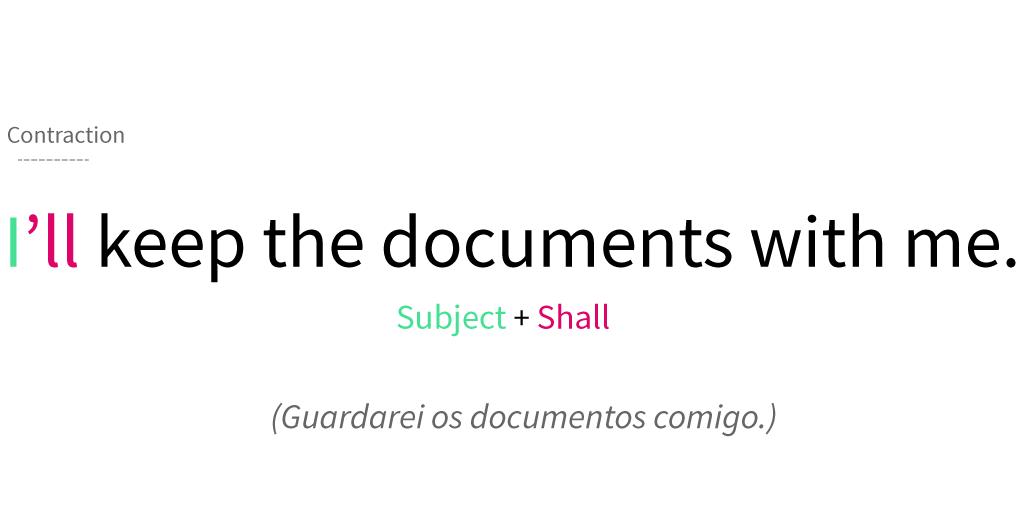 Exemplo de abreviação de shall no tempo futuro.