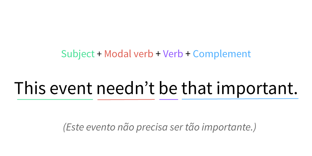 Imagem exemplo do verbo to need como verbo modal.